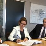 Mauro Cuzzoni (commerce), Marion Nicolay Cabanne (adjointe au maire), Christophe Bouchet et Hélène Millot en conférence de presse avant le conseil du 13 novembre 2017.