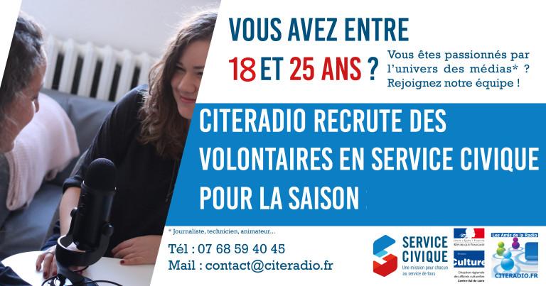SAISON 2020-2021 – Service Civique – Journaliste – animateur – Participer au développement de CITERADIO dans les domaines de l'économie, du sport, de la culture et du social.