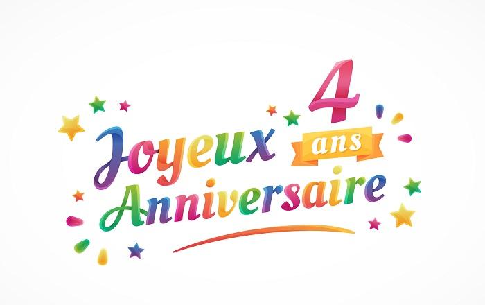 Joyeux Anniversaire - 4 ans - Carte de vœux