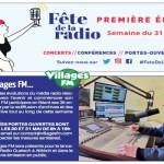 Affiche Villages FM pour les 100 ans de la radio